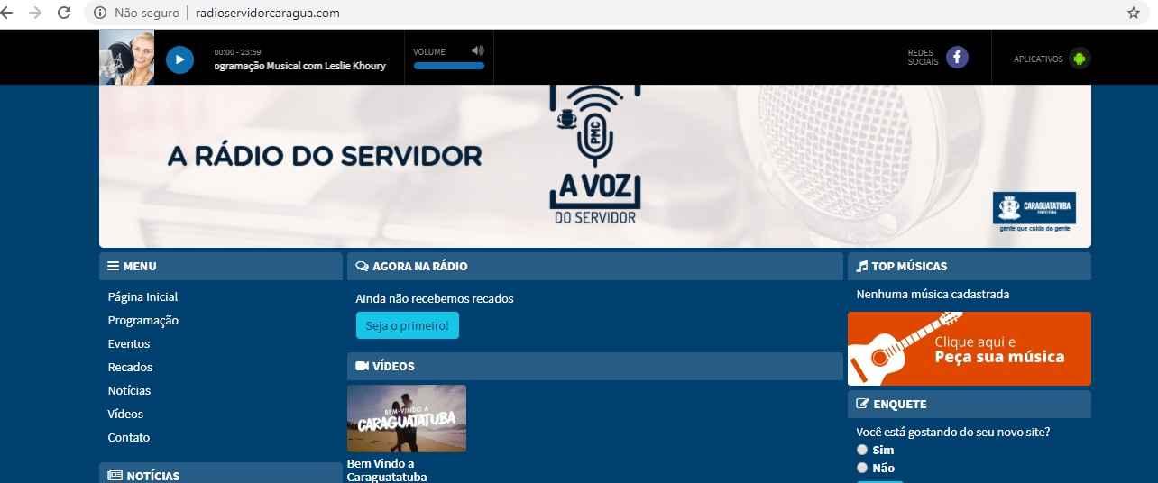 rádio do servidor