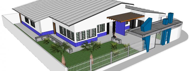 Arte da vista lateral do prédio que abrigará consultórios médicos no Poço das Antas