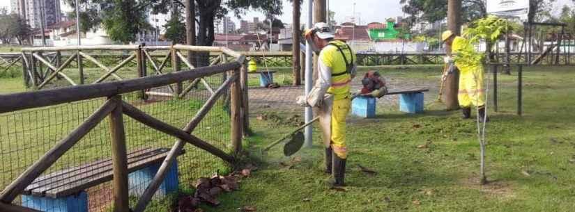 Parcão na Martim de Sá recebe serviços de limpeza geral e fica pronto para a festa no domingo