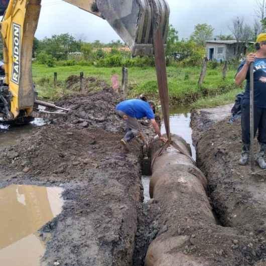 Nova tubulação de drenagem é instalada no Pegorelli