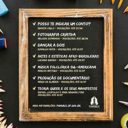 Governo do Estado de São Paulo abre inscrições para Oficinas Culturais on-line