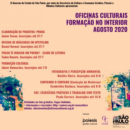 Governo do Estado de São Paulo abre inscrições para Oficinas Culturais on-line no mês de agosto