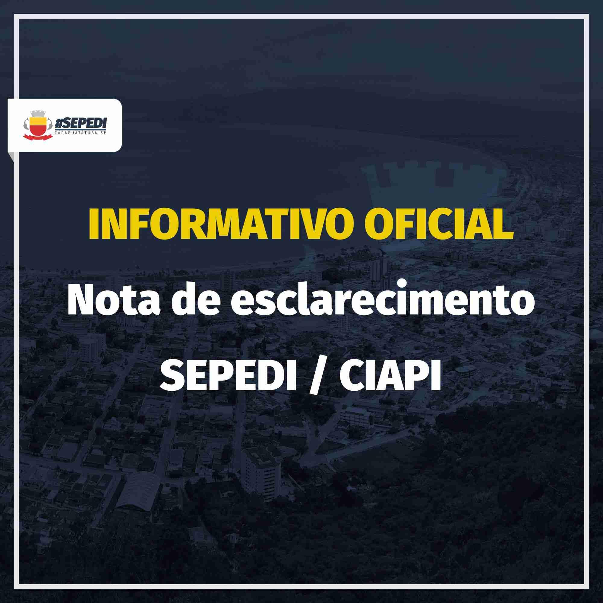 INFORMATIVO OFICIAL - NOTA DE ESCLARECIMENTO - SEPEDI
