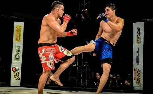 lutadores se enfrentam no octógono