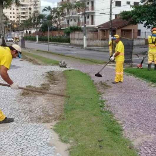 Prefeitura realiza serviços de limpeza e roçada na orla da praia Martim de Sá