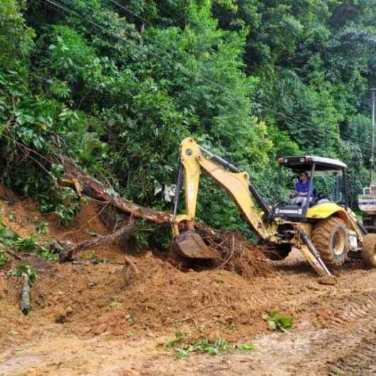 Prefeitura trabalha na limpeza e desobstrução de vias após chuvas; Defesa Civil está em alerta