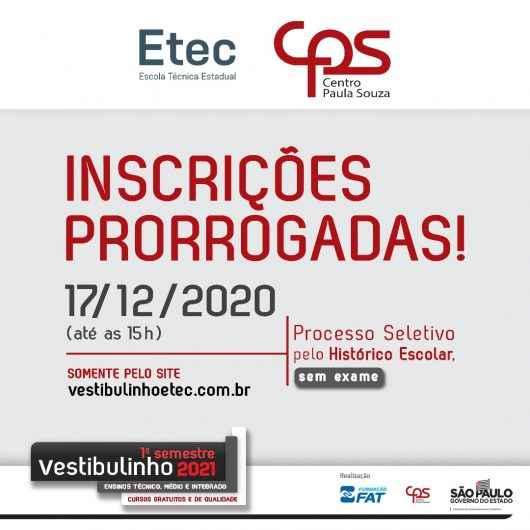 Etec de Caraguatatuba prorroga as inscrições do vestibulinho 2021 para quinta-feira (17)