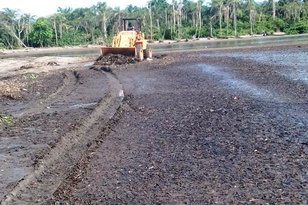 #PraCegoVer: Máquina realiza limpeza na margem do rio  (Foto: Divulgação/PMC)