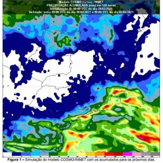 Defesa Civil alerta para chuvas de 150 mm até quarta-feira na região