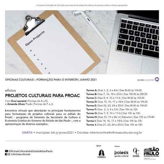 Inscrições abertas para Oficina de Projetos Culturais para ProAC
