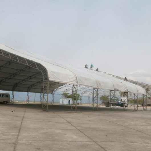 Tenda da Praça da Cultura é recolocada na retomada das atividades no pós pandemia
